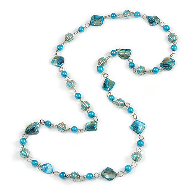 Long Glass and Shell Bead with Silver Tone Metal Wire Element Necklace In Light Blue/ Azure - 120cm L