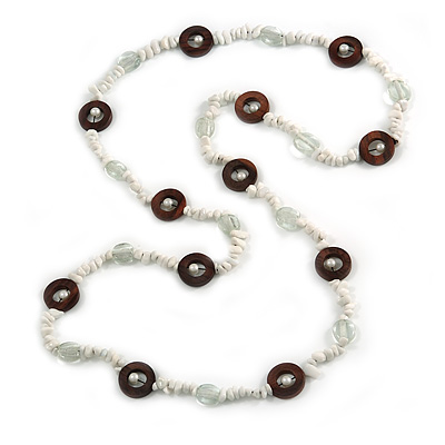 Long White Semiprecious Stone, Ceramic Bead, Brown Wood Ring Necklace - 102cm L - main view