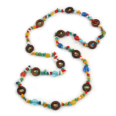Long Multicoloured Semiprecious Stone, Ceramic Bead, Brown Wood Ring Necklace - 102cm L
