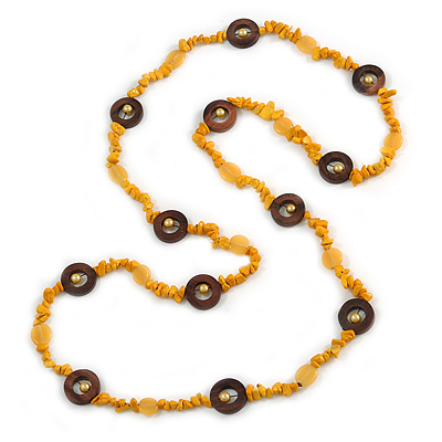 Long Yellow Semiprecious Stone, Ceramic Bead, Brown Wood Ring Necklace - 102cm L