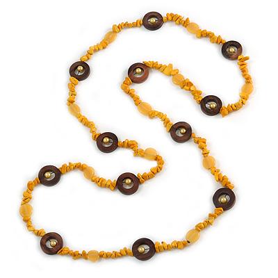 Long Yellow Semiprecious Stone, Ceramic Bead, Brown Wood Ring Necklace - 102cm L - main view