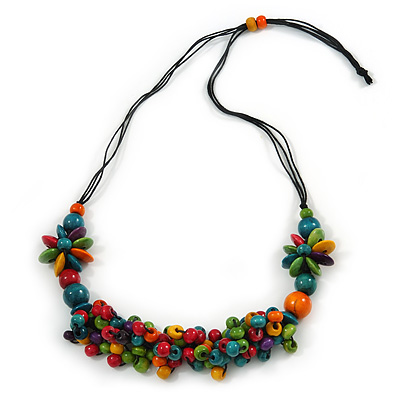Multicoloured Wood Bead Cluster Black Cotton Cord Necklace - 76cm L/ Adjustable