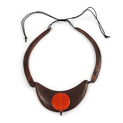 Statement Wooden Bib Style Necklace with Orange Ceramic Bead - Adjustable