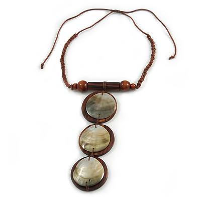 Statement Geometric Wood and Mother of Pearl Brown Cotton Cord Necklace - Adjustable - 16cm L Pendant