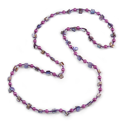 Long Pink Shell and Glass Crystal Bead Necklace 120cm L