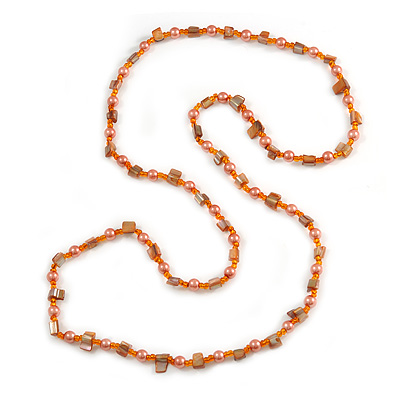 Peach Glass and Orange Shell Bead Long Necklace - 106cm Long