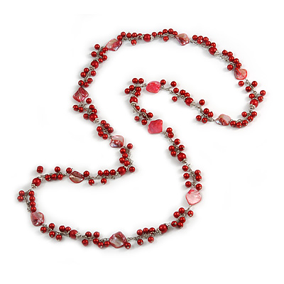 Long Red Glass Bead, Sea Shell with Silver Tone Chain Necklace - 140cm L - main view
