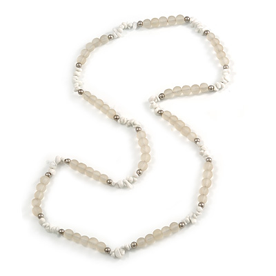 Transparent Resin Bead, White Semiprecious Stone Long Necklace - 86cm L