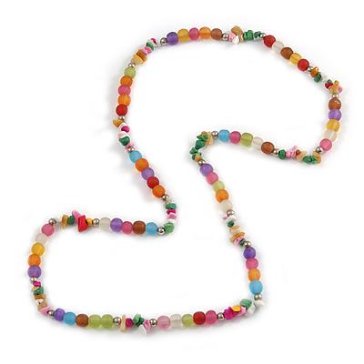 Multicoloured Resin Bead, Semiprecious Stone Long Necklace - 86cm L - main view