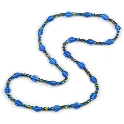 Stylish Blue Ceramic, Glass Bead with Gold Tone Metal Rings Long Necklace - 90cm L
