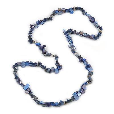 Stylish Dark Blue Semiprecious Stone and Sea Shell Nugget Necklace - 84cm Long
