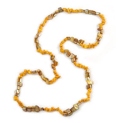 Stylish Yellow Semiprecious Stone, Mustard Sea Shell Nugget Necklace - 88cm Long