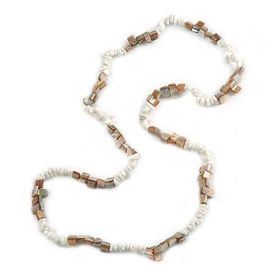 Stylish Snow White Semiprecious Stone, Antique White Sea Shell Nugget Necklace - 86cm Long