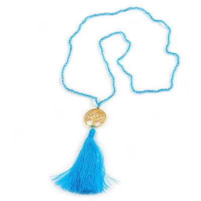Light Blue Crystal Bead Necklace with Gold Tone Tree Of LIfe/ Silk Tassel Pendant - 84cm L/ 10cm Tassel