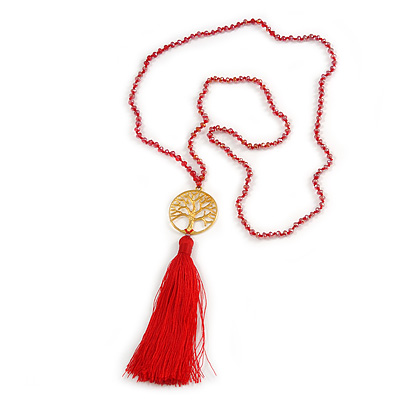 Red Crystal Bead Necklace with Gold Tone Tree Of LIfe/ Silk Tassel Pendant - 84cm L/ 10cm Tassel