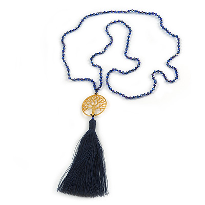 Dark Blue Crystal Bead Necklace with Gold Tone Tree Of LIfe/ Silk Tassel Pendant - 84cm L/ 10cm Tassel
