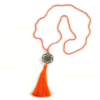 Orange Crystal Bead Necklace with Bronze Tone Seed Of Life Mandala/ Silk Tassel Pendant - 88cm L/ 10cm Tassel - main view