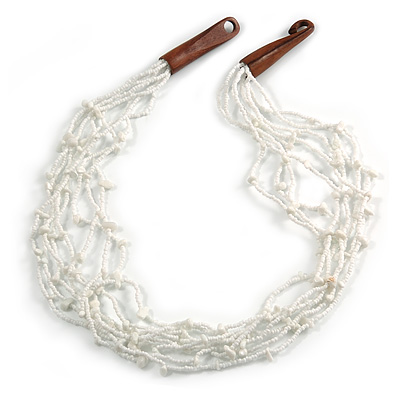 Ethnic Snow White Glass Bead, Semiprecious Stone Necklace With Wood Hook Closure - 60cm L