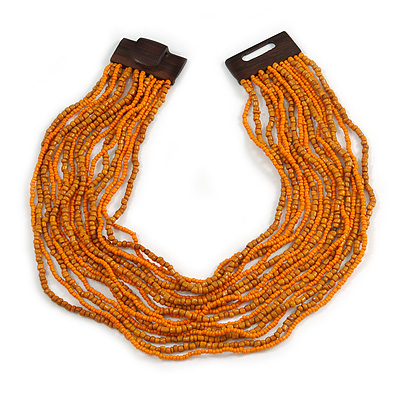 Dusty Orange/ Bright Orange Glass Bead Multistrand, Layered Necklace With Wooden Square Closure - 64cm L