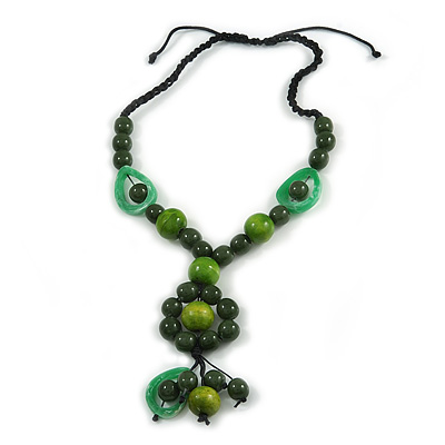 Statement Ceramic, Wood, Resin Tassel Black Cord Necklace (Green) - 54cm L/ 10cm Tassel - Adjustable