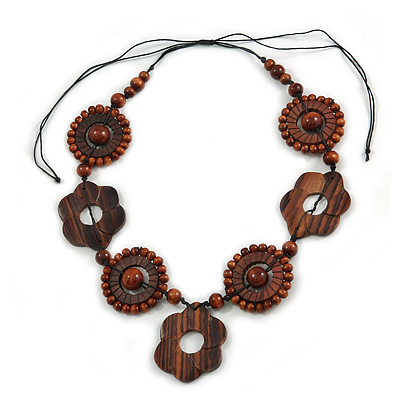 Brown Wood Floral Motif Black Cord Necklace - 60cm L/ Adjustable
