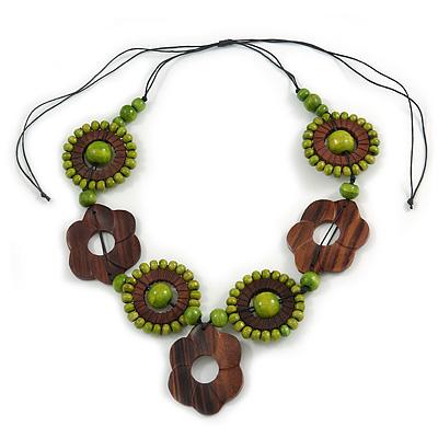 Brown/ Lime Green Wood Floral Motif Black Cord Necklace - 60cm L/ Adjustable