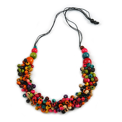 Multicoloured Wood Bead Cluster Black Cotton Cord Necklace - 80cm L/ Adjustable - main view