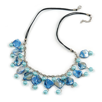 Light Blue/ Sea Blue Glass Bead, Sea Shell Nugget Black Cord Necklace - 50cm L/ 4cm Ext