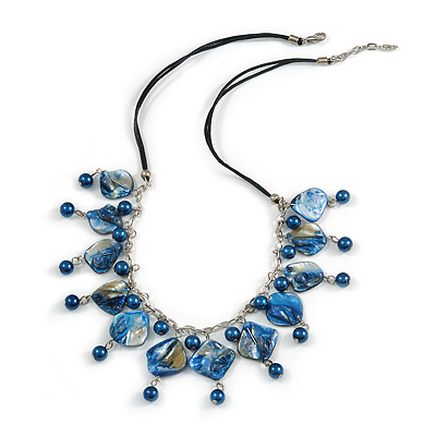 Dark Blue Glass Bead, Sea Shell Nugget Black Cord Necklace - 50cm L/ 4cm Ext