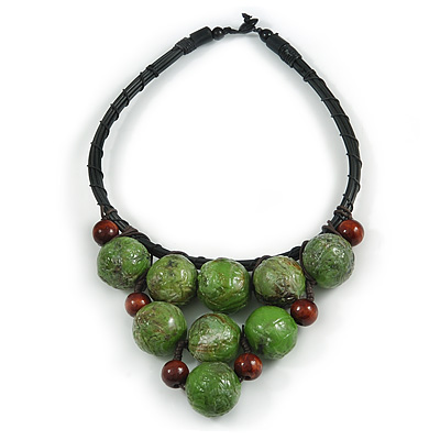 Statement Dusty Green Resin Ball, Black Rubber Cord Bib Necklace - 52cm L - main view