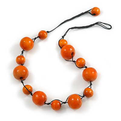 Orange Wood Bead Black Cotton Cord Necklace - 52cm Long