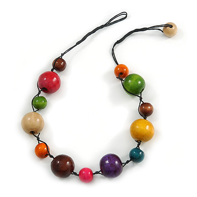 Multicoloured Wood Bead Black Cotton Cord Necklace - 52cm Long - main view