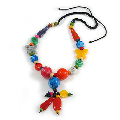 Chunky Multicoloured Resin, Ceramic, Wood Bead Black Cord Tassel Necklace - 66cm L/ 11cm Tassel