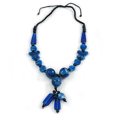 Chunky Blue Resin, Ceramic Bead Black Cord Tassel Necklace - 66cm L/ 11cm Tassel