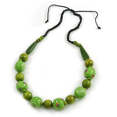 Signature Wood, Ceramic Bead Black Cord Necklace (Lime Green) - 66cm L (Adjustable)