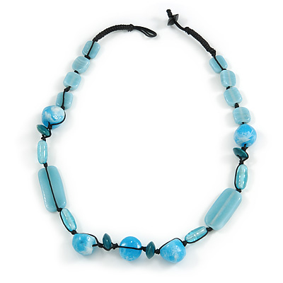 Light Blue Ceramic, Glass, Wood and Resin Beads Black Cord Necklace - 55cm L
