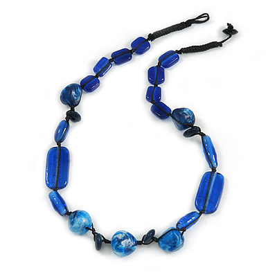 Blue Ceramic, Glass, Wood and Resin Beads Black Cord Necklace - 55cm L - main view