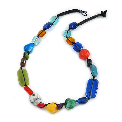 Multicoloured Ceramic, Glass, Wood and Resin Beads Black Cord Necklace - 55cm L - main view
