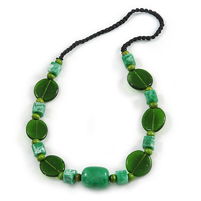 Statement Ceramic/ Wood/ Resin Bead Black Cotton Cord Necklace (Green) - 70cm L