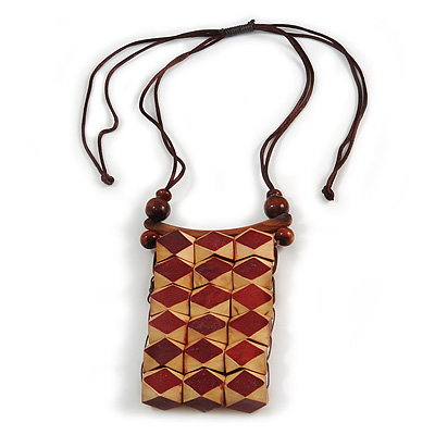 Statement Natural/ Brown Wood Bib Style Necklace with Chocolate Silk Cords - Adjustable
