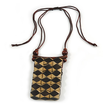 Statement Natural/ Black Wood Bib Style Necklace with Brown Silk Cords - Adjustable