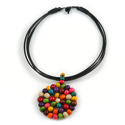 Black Rubber Cord Necklace with Multicoloured Wood Bead Medallion Pendant - 40cm L