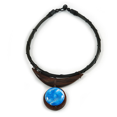 Ethnic Black Rubber Cord Necklace with Wooden Pendant - 50cm L