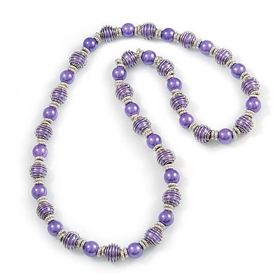 Purple Glass Bead with Silver Tone Metal Wire Element Necklace - 70cm Long - main view