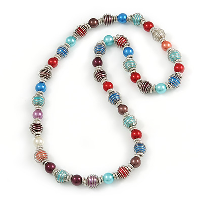 Multicoloured Glass Bead with Silver Tone Metal Wire Element Necklace - 70cm Long - main view
