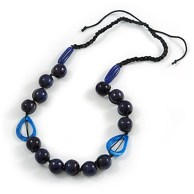Signature Wood, Ceramic, Acrylic Bead Black Cord Necklace (Dark Blue) - 72cm L (Adjustable) - main view