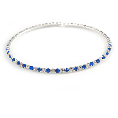 Thin Blue/ Clear Crystal Flex Choker Necklace In Silver Tone - Adjustable