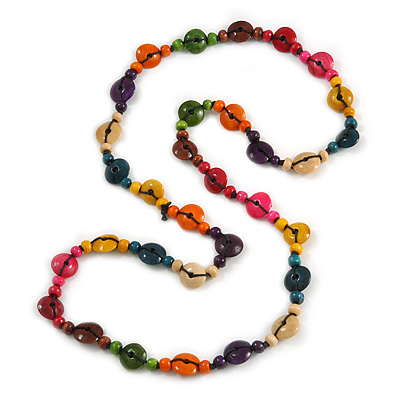 Long Multicoloured Wood Button Bead Necklace - 110cm Long