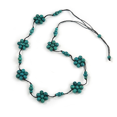 Stunning Teal Wood Flower Black Cotton Cord Long Necklace - 90cm L