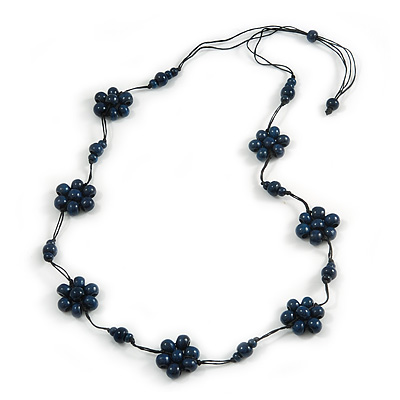 Stunning Dark Blue Wood Flower Black Cotton Cord Long Necklace - 90cm L